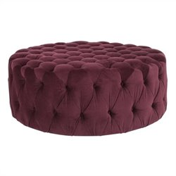 Safavieh Charlene Plywood and Cotton Ottoman in Bordeaux