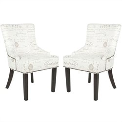 Safavieh Gavin Brass Nailhead Side Chair in White and Grey (Set Of 2)