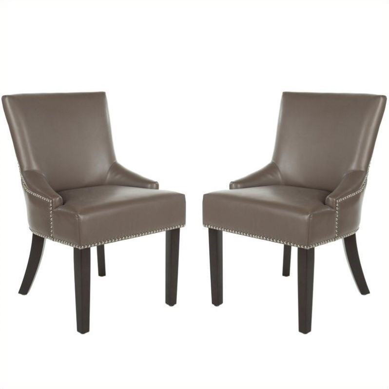 Safavieh Gavin Nickle Nailhead  Dining Chair in Clay (Set Of 2)