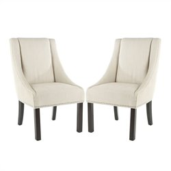 Safavieh Molly Beech  Sloping Arm Dining Chair in Beige (Set Of 2)