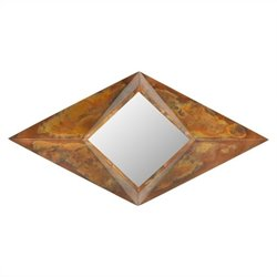 Safavieh Diamond Iron Glass and Wood Mirror in Copper