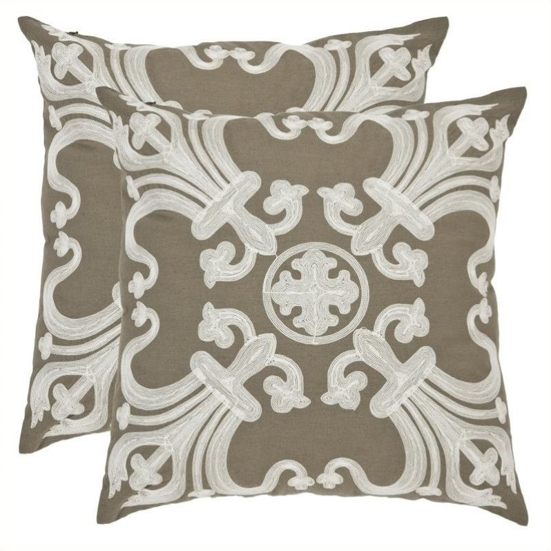 Safavieh Margaret Polyester 18-inch Pillows in Olive (Set of 2)