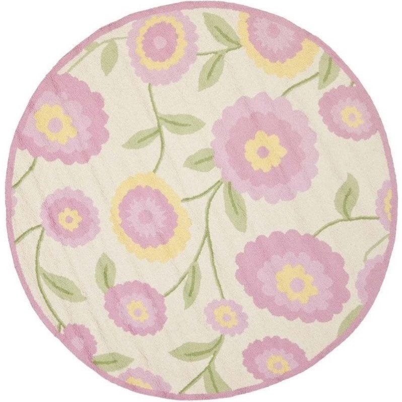 Safavieh safavieh kids round rug in ivory pink sfk355a 6r for Round rugs for kids