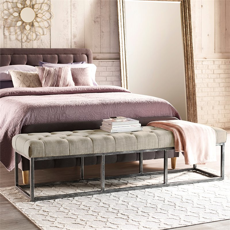 Super Serta At Home Danes Tufted Bedroom Bench In Ivory Interior Design Ideas Gentotryabchikinfo