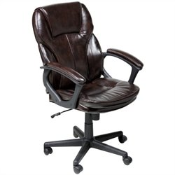 Serta Manager Office Chair in Brown Puresoft Faux Leather