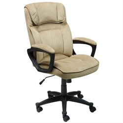 Serta Executive Office Chair in Light Beige Microfiber