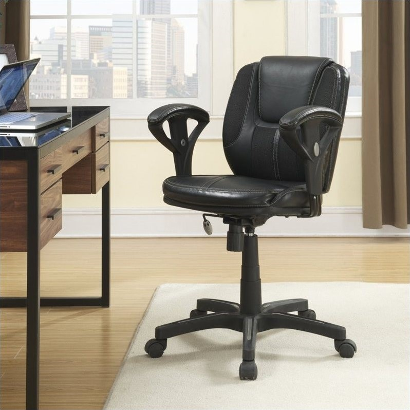 Serta Task Chair in Puresoft Black Faux Leather with Mesh