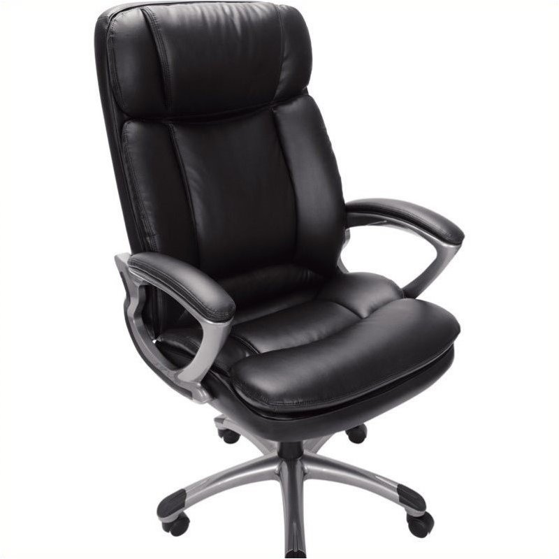 Serta Office Chair In Puresoft Black Faux Leather 43675