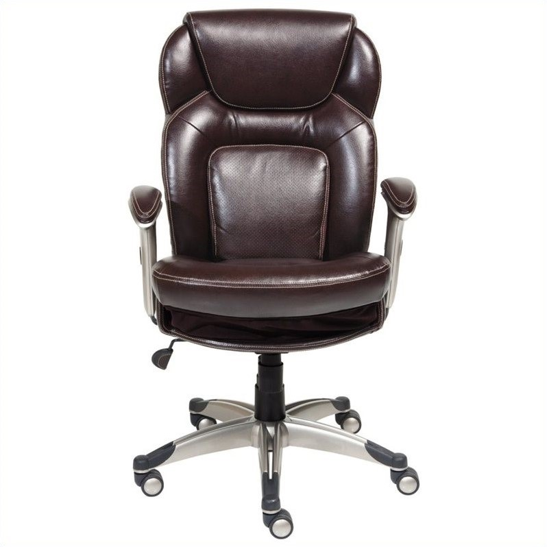 Serta Back in Motion Office Chair in Chocolate Bonded Leather