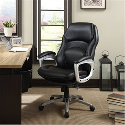 Serta Back in Motion Executive Office Chair in Black Bonded Leather