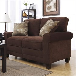 Serta Trinidad Love Seat in Chocolate Fabric