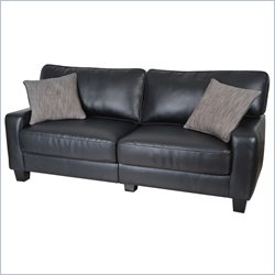 Serta Santa Rosa Deluxe Sofa in Black Bonded Leather