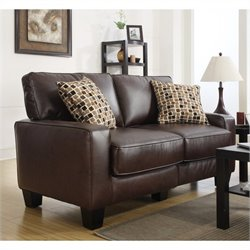 Serta Monaco Love Seat in Biscuit Brown Bonded Leather