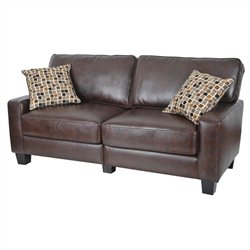 Serta Monaco Deluxe Sofa in Biscuit Brown Bonded Leather
