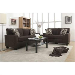 Serta RTA San Paolo 2 Piece Fabric Sofa Set in Mink Brown