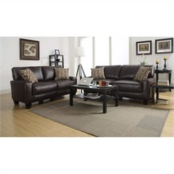 Serta RTA Monaco 2 Piece Bonded Leather Sofa Set in Brown