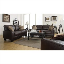 Serta RTA Monaco 3 Piece Bonded Leather Sofa Set in Brown