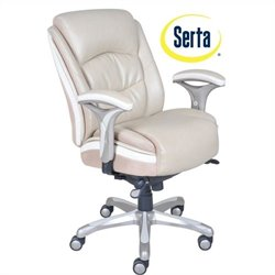 Serta Smart Layers Ergonomic Leather Manager Office Chair in Beige