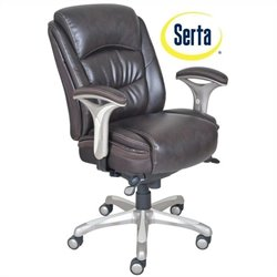 Serta Smart Layers Ergonomic Leather Manager Office Chair in Brown
