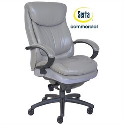 Serta Commercial 300 Ergonomic Leather Executive Office Chair in Gray