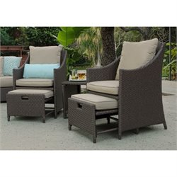 Serta at Home Sterling Falls 5 Piece Wicker Outdoor Sofa Set in Beige