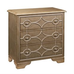 PRI Diamond 3 Drawer Chest in Burnished Gold