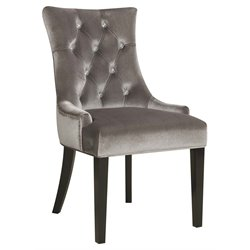 PRI Velvet Upholstered Dining Side Chair in Silver
