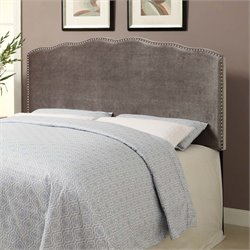 MER-1242 Nailhead Velvet Upholstered Headboard in Silver