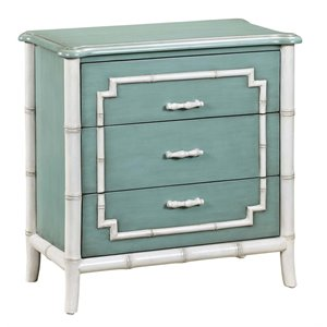 PRI 3 Drawer Faux Bamboo Trim Accent Chest in Blue