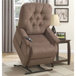 PRI Button Tufted Lift Chair in Saville Brown