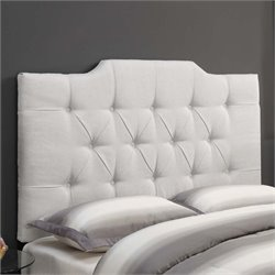 MER-1242 Saddle Back Button Tufted Headboard in Linen White