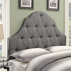 MER-1242 Shaped Camel Back Button Tufted Headboard in Ash Gray