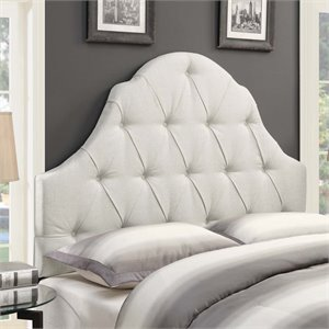 MER-1242 Shaped Camel Back Button Tufted Headboard in Linen White