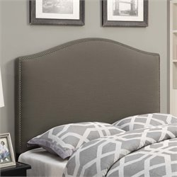 MER-1242 Camel Back Upholstered Headboard in Taupe Brown