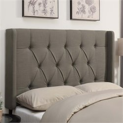 MER-1242 Shelter Button Tufted Headboard in Taupe Brown