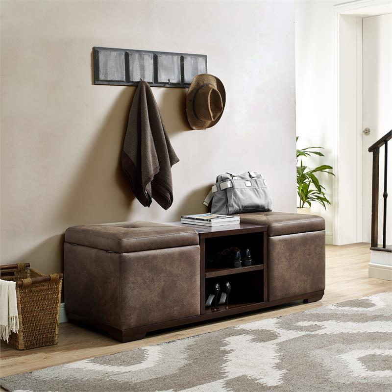 Home Fare Wood and Fabric Upholstered Dual Ottoman Storage Bench in Brown