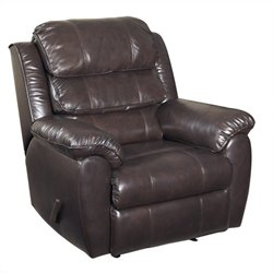 PRI Warren Rocker Leather Recliner Chocolate