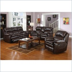 PRI Dillon 3 Piece Sofa Set in Dark Brown