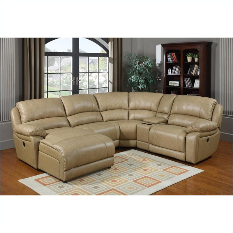 Brisbane Leather Sectional in Taupe
