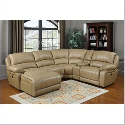 PRI Brisbane Leather Sectional in Taupe