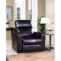 PRI Larson Leather Power Recliner in Black