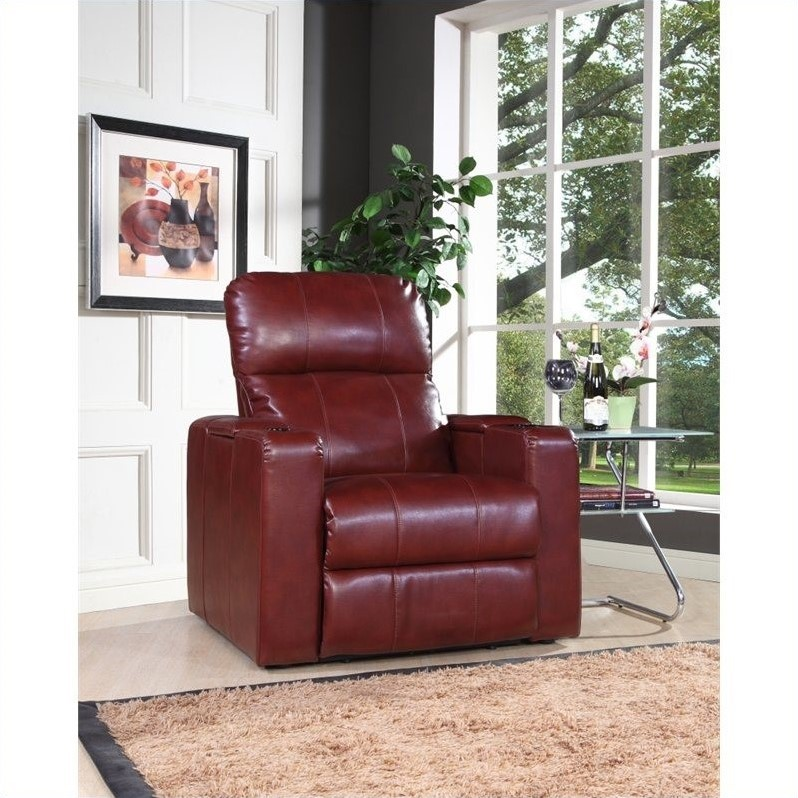 Larson Recliner with Storage in Cranberry