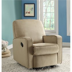 PRI Sutton Fabirc Swivel Glider Recliner in Beige