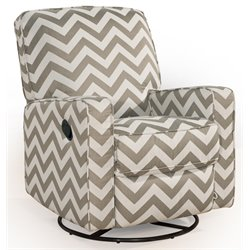 PRI Sutton Swivel Glider Recliner in Chevron Vibes Truffle