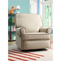 PRI Birch Hill Fabirc Swivel Glider Recliner in Beige