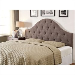 PRI Upholstered Tufted Panel Headboard in Softex Slate