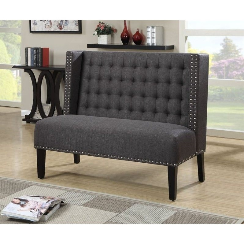 PRI Fabric Living Room Bench in Anthracite