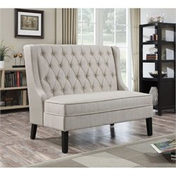 PRI Fabric Living Room Bench in Oatmeal