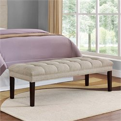 PRI Upholstered Panel Tufted Bedroom Bench in Tan