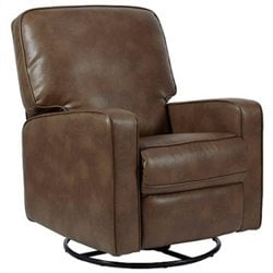 PRI Sutton Fabric Swivel Glider Recliner in Chestnut